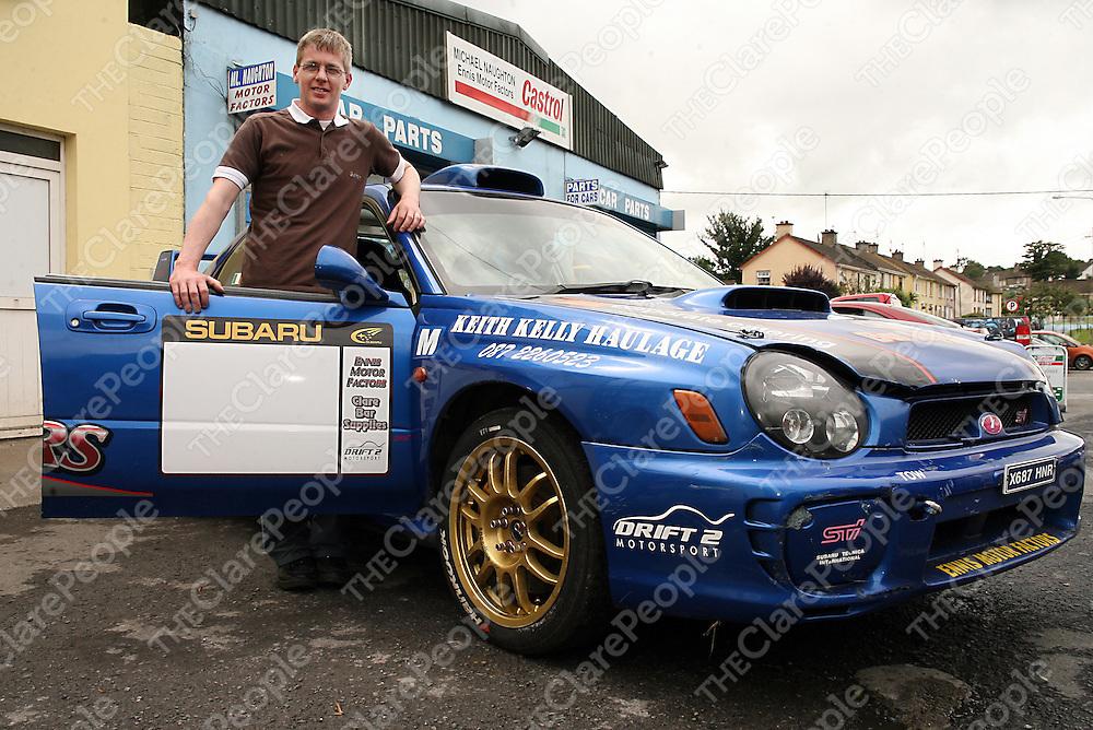 Keith Naughton with his Subaru Impreza.<br /> Photograph by Yvonne Vaughan