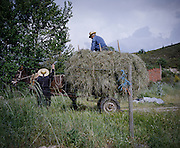 Two villagers of Rio Onor collect the hay for the winter