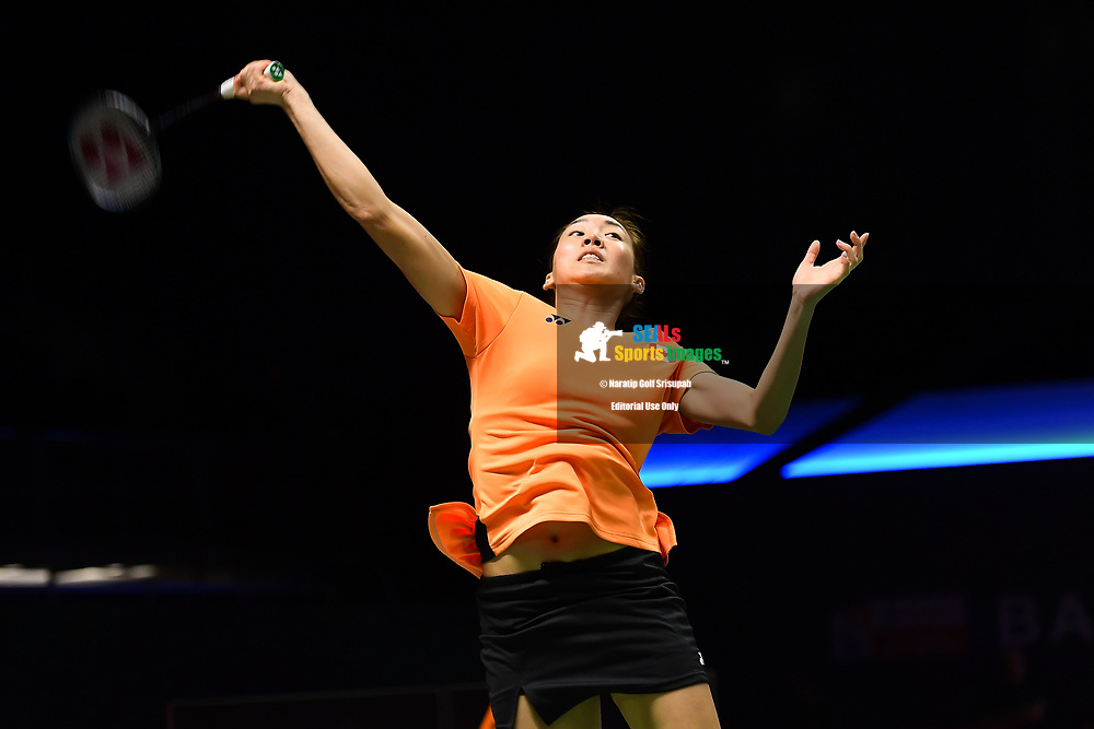 BANGKOK, THAILAND - MAY 24: Michelle Li of Canada in action on Court 2 during her Quarter Finals match against Sung Ji Hyun of South Korea at the BWF Total Thomas and Uber Cup Finals 2018, Impact Arena, Bangkok, Thailand on May 24, 2018.<br /> .<br /> .<br /> .<br /> (Photo by: Naratip Golf Srisupab/SEALs Sports Images)<br /> .<br /> Any image use must include a mandatory credit line adjacent to the content which should read: Naratip Golf Srisupab/SEALs Sports Images