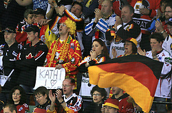 """Fan of Germany with sign """"Kathi, I love you"""" at ice-hockey match Finland vs Germany (they played in replika jerseys like they were in year 1932) at Preliminary Round (group C) of IIHF WC 2008 in Halifax, on May 03, 2008 in Metro Center, Halifax, Canada. (Photo by Vid Ponikvar / Sportal Images)Won of Finland 5:1."""