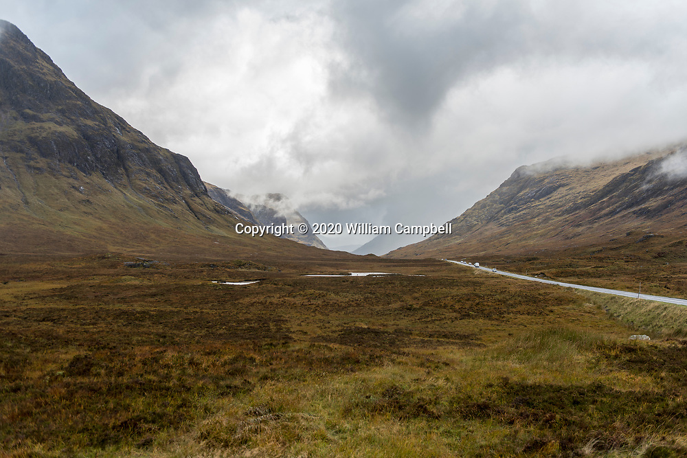 A misty glen in the 14,000 acre Glencoe National Nature Reserve in western Scotland.