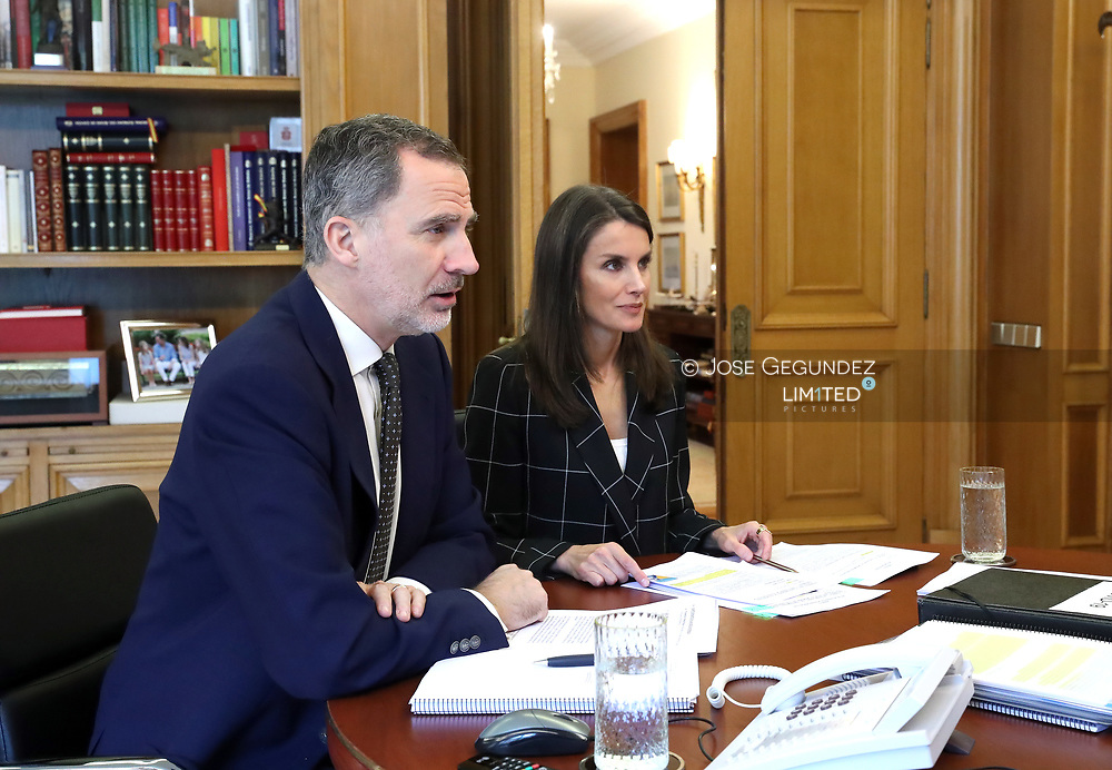 King Felipe VI of Spain, Queen Letizia of Spain attends videoconference with the president of the General Council of Official Nursing Colleges at Zarzuela Palace on May 12, 2020 in Madrid, Spain