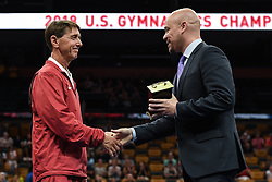 August 18, 2018 - Boston, Massachussetts, U.S - BRETT MCCLURE (right) presents MARK WILLIAMS (left) with the award for Coach of the Year following the competition held at TD Garden in Boston, Massachusetts. (Credit Image: © Amy Sanderson via ZUMA Wire)