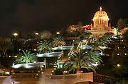 Israel, Haifa, the Bahai temple and gardens at night, February 2009