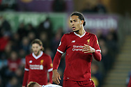 Virgil van Dijk of Liverpool looks on.Premier league match, Swansea city v Liverpool at the Liberty Stadium in Swansea, South Wales on Monday 22nd January 2018. <br /> pic by  Andrew Orchard, Andrew Orchard sports photography.