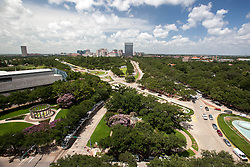 View from Hotel ZaZa of Texas Medical Center, Hermann Park, Museum of Natural Science, and Mecom Fountains looking south on Fannin St. in Houston, Texas.
