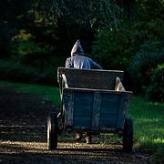 A monk pulls his cart from the abbey park. He carries soil for his plantations. Solesmes on 18-10-19<br /> Un moine tire sa charrette dans le parc de l'abbaye. Il transporte du terreau pour ses plantations. Solesmes le 18-10-19