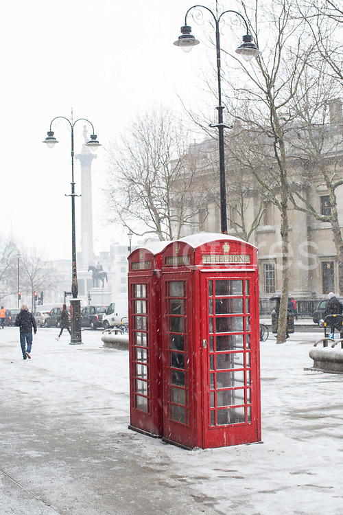 Fresh snow along Charring Cross Road following the arrival of Storm Emma which is set to bring further widespread disruption to many parts of the UK on 2nd March 2018 in Central London, London, United Kingdom. Freezing weather conditions dubbed the Beast from the East brings snow and sub-zero temperatures to the UK.