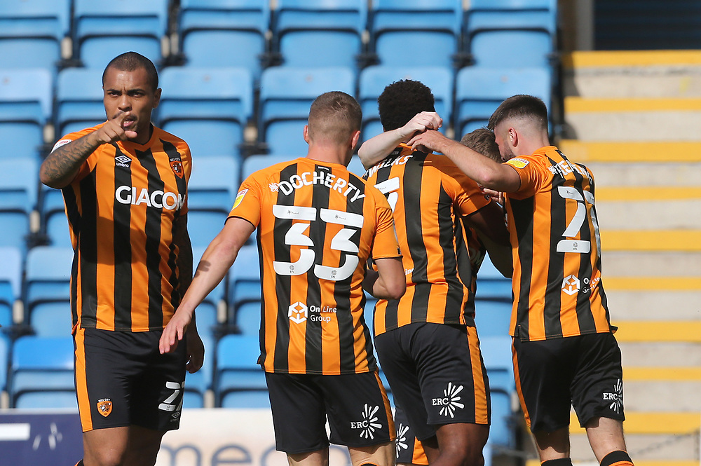 Hull City's Keane Lewis-Potter celebrates scoring his side's first goal with his team mates<br /> <br /> Photographer Rob Newell/CameraSport<br /> <br /> The EFL Sky Bet League One - Gillingham v Hull City - Saturday September 12th 2020 - Priestfield Stadium - Gillingham<br /> <br /> World Copyright © 2020 CameraSport. All rights reserved. 43 Linden Ave. Countesthorpe. Leicester. England. LE8 5PG - Tel: +44 (0) 116 277 4147 - admin@camerasport.com - www.camerasport.com