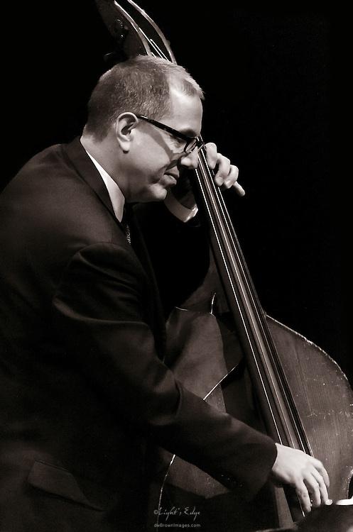 Bassist Tom Hubbard of The Aaron Weinstein Trio accompanying Christine Ebersole at SOPAC in South Orange, NJ.
