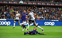 Football UEFA Champions League Q3<br /> Rosenborg - Maribor<br /> Lerkendal Stadium, Trondheim, Norway<br /> 13 August 2019<br /> <br /> Anders Konradsen, Rosenborg og Sasa Ivkovic, Maribor (liggende), i duell<br /> <br /> Foto : Arve Johnsen, Digitalsport