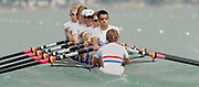 Photo  Peter Spurrier.28/08/2003 Thursday.2003 World Rowing Championships, Idroscala. Milan, Italy.Semi finals, men's eight, Britain's,  [left to right] Alex Partridge, Dan Ouseley, Jonno Devlin, Andrew Hodge, Ed Coode, Phil Simmons, Robin Boure-Taylor  and Tom James - cox Christian Comack, at the start of their semi final ... Milan. ITALY 2003 World Rowing Championships. Idro Scala Rowing Course. [Mandatory Credit: Peter Spurrier: Intersport Images.]
