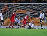 Photo: Dave Linney.<br />Port Vale v Swindon Town. Coca Cola League 1.<br />19/11/2005.Hameur  Bouazza slots home the the goal for Swindon.