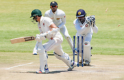 Zimbabwe captain and batsman Graeme Cremer survives a stumping by Kusal Janith Perera in action during the third day of the 100th test match for Zimbabwe played in a series of two matches with Sri Lanka at Harare Sports Club 31 October 2016.