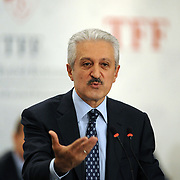 Turkish Football Federation Chairman Mehmet Ali AYDINLAR speaks during a news conference in Istanbul August 15, 2011. Turkey's Football Federation said on Monday it would not take any decisions regarding individuals or clubs involved in alleged match-fixing until after a Turkish court lifts the secrecy on evidence being given to an ongoing police probe. Over 30 people are currently in jail awaiting trial. They include Fenerbahce chairman Yildirim and the coach and deputy chairman of Besiktas who face charges of match-fixing. Photo by TURKPIX