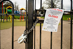 Hillsborough Sheffield  28th March 2020 Hillsborough play area closed after emergency measures to combat Covid-19 were announced by Prime minister Boris Johnson on Monday evening 23rd march<br /> <br /> 28 March 2020<br /> <br /> www.pauldaviddrabble.co.uk<br /> All Images Copyright Paul David Drabble - <br /> All rights Reserved - <br /> Moral Rights Asserted -