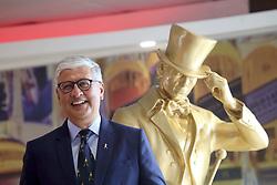 Pictured: Diageo CEO Ivan Menezes<br /> <br /> Diageo CEO Ivan Menezes with the Johnnie Walker striding man at Diageo Scotland HQ, Edinburgh 16042018 pic by Terry Murden @edinburghelitemedia <br /> <br /> Terry Murden | EEm 16 April 2018