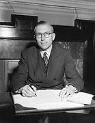 Mr Thomas K. Whitaker, new Secretary of the Department of Finance.<br /> 29.5.56