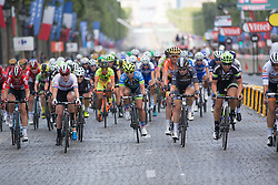 The peloton dictated a high pace during the La Course, a 89 km road race in Paris on July 24, 2016 in France.