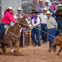 Breakaway roper Jovonna loses her calf as she tries for a fast time during the Lions Club Rodeo Friday at Red Rock Park in Gallup.