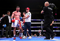 Tommy Coyle (left) is stopped by Jamie Moore during the WBO International Super-Lightweight title at Madison Square Garden, New York.