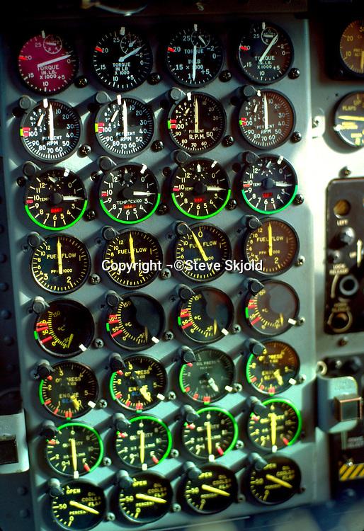 Airplane dials in cockpit at Holman Field air show.  St Paul Minnesota USA