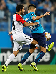 November 23, 2017 - Saint Petersburg, Russia - Christian Noboa (R) of FC Zenit Saint Petersburg and Ytalo of FK Vardar vie for the ball during the UEFA Europa League Group L match between FC Zenit St. Petersburg and FK Vardar at Saint Petersburg Stadium on November 23, 2017 in Saint Petersburg, Russia. (Credit Image: © Mike Kireev/NurPhoto via ZUMA Press)