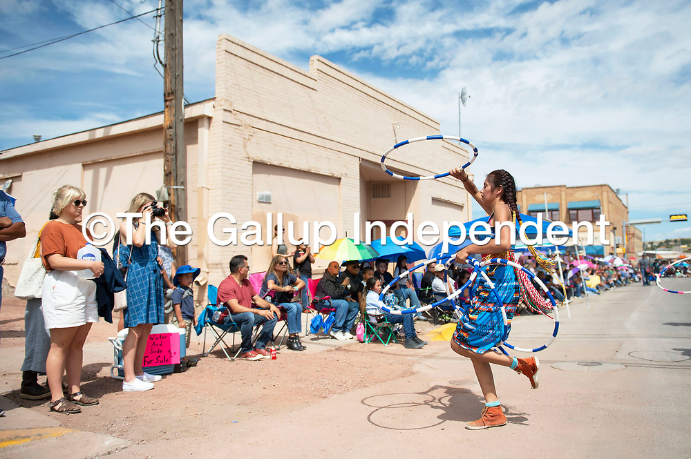 Shalaia Hayes, a Native Sky Hoop Dancers from Pinedale New Mexico at the Gallup Inter-Tribal Indian Ceremonial parade Saturday morning through in Gallup.