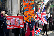 On the day that the UK was scheduled to leave the European Union and political parties commence campaigning for the General Election on December 12th, Brexiters voice their anger outside the British parliament in Westminster, on 31st October 2019,