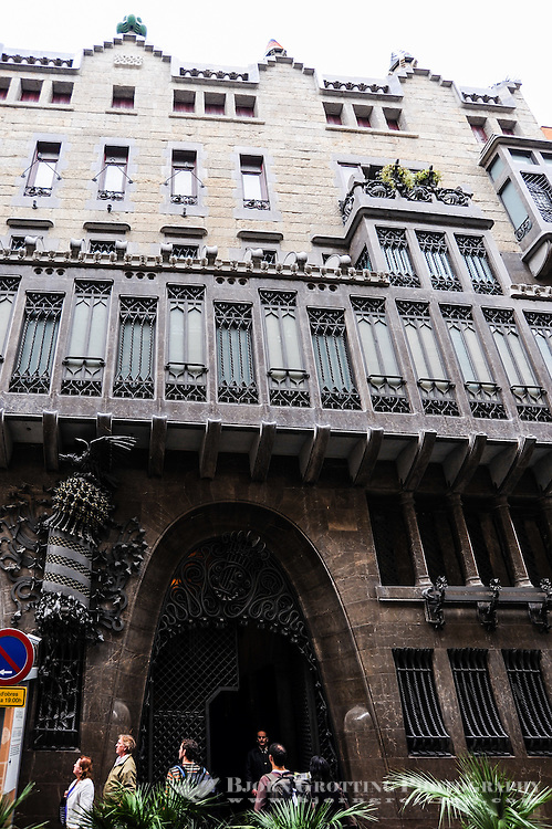 Spain, Barcelona. The Palau Güell, designed by Antoni Gaudí. Facade details.