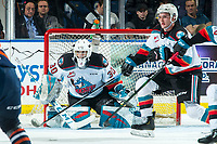 KELOWNA, BC - DECEMBER 27:  Roman Basran #30 of the Kelowna Rockets defends the net during secondn period against the Kamloops Blazers at Prospera Place on December 27, 2019 in Kelowna, Canada. (Photo by Marissa Baecker/Shoot the Breeze)