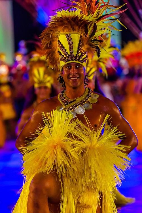 Tahiti Ora dance group performing during  the Winners Showcase, the final night of Heiva i Tahiti (July cultural festival), Place Toata, Papeete, Tahiti, French Polynesia.