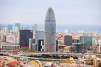 Spain, Barcelona. View from Sagrada Família. Torre Agbar.