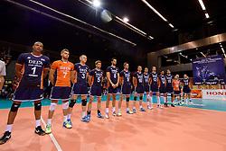 20150619 NED: World League Nederland - Portugal, Groningen<br /> De Nederlandse volleyballers hebben in de World League ook hun eerste duel met Portugal met 3-0 gewonnen / Line up Nederland