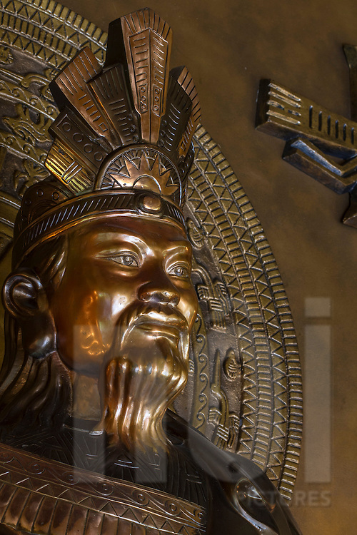 Bronze carved statue of King Hung Vuong in a temple, Tao Dan Park, Ho Chi Minh City, Vietnam, Southeast Asia