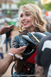 Iron Lillies' Leticia Cline outside the Handbuilt Motorcycle Show. Austin, TX, USA. April 8, 2016.  Photography ©2016 Michael Lichter.
