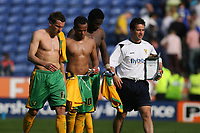 Photo: Pete Lorence.<br />Leicester City v Norwich City. Coca Cola Championship. 14/04/2007.<br />Darren Huckerby, Robert Earnshaw and Dickson Etuhu after the match.