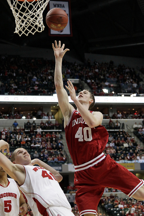 09 March 2012: Indiana Forward Cody Zeller (40)  as the Indiana Hoosiers played the Wisconsin Badgers in a college basketball game during the Big 10 Men's Basketball Championship in Indianapolis
