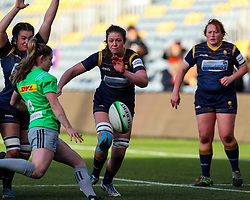 Amelia Buckland Hurry of Worcester Warriors Women tries to charge down a box kick by Leanne Riley of Harlequins Women  - Mandatory by-line: Nick Browning/JMP - 20/12/2020 - RUGBY - Sixways Stadium - Worcester, England - Worcester Warriors Women v Harlequins Women - Allianz Premier 15s