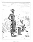 female Korah Hottentot from the book Sketches representing the native tribes, animals, and scenery of southern Africa : from drawings made by the late Mr. Samuel Daniell. by Daniell, Samuel, 1775-1811; Daniell, William, 1769-1837; Barrow, John, Sir, 1764-1848; Somerville, William, 1771-1860; Printed by Richard and Arthur Taylor : Published by William Daniell, and William Wood, London, 1820