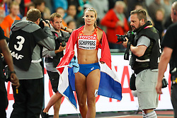 London, August 11 2017 . Dafne Schippers, Netherlands, after winning the  women's 200m final on day eight of the IAAF London 2017 world Championships at the London Stadium. © Paul Davey.