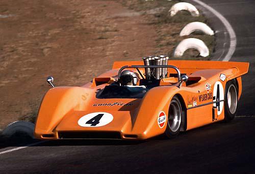 Bruce McLaren in McLaren M8A at 1968 Riverside Can-Am; Photo by Pete Lyons 1968/ © Pete Lyons / petelyons.com