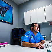 Antonio A. Mignucci-Giannoni, VT PhD, the director of the Manatee Conservation Center and Professor of Marine Sciences—Inter American University is photographed in his office at the Manatee Conservation Center. Image release available.