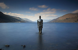 Pictured: Mirror Man Sculpture by artist Rob Mullholland stands on the bank of Loch Eran at St Fillans Perth, Titled Still.<br /> <br /> <br /> © Stephen Smyth/ EEm