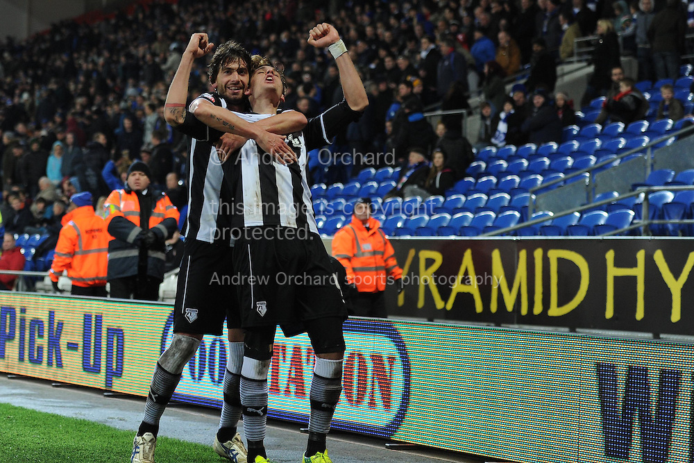 Watford's Gabriele Angella (r) celebrates after he scores his teams 4th goal to make it 1-4.  Skybet football league championship match, Cardiff city v Watford at the Cardiff city stadium in Cardiff, South Wales on Sunday 28th December 2014<br /> pic by Andrew Orchard, Andrew Orchard sports photography.