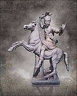 Roman marble sculpture of a warrior on horseback, a 2nd century AD copy from an original 2nd century BC Hellanistic Greek original, inv 6405, Naples Museum of Archaeology, Italy   wall art print by Photographer Paul E Williams .<br /> <br /> If you prefer visit our World Gallery Print Shop To buy a selection of our prints and framed prints desptached  with a 30-day money-back guarantee and is dispatched from 16 high quality photo art printers based around the world. ( not all photos in this archive are available in this shop) https://funkystock.photoshelter.com/p/world-print-gallery
