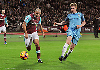 Football - 2016 / 2017 Premier League - West Ham United vs. Manchester City<br /> <br /> Sofiane Feghouli of West ham and Kevin de Bruyne of Manchester City at The London Stadium.<br /> <br /> COLORSPORT/ANDREW COWIE
