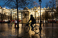 Bicyclist at Rue Berger (Fontaine des Innocents), 2008. Paris, France. ©Ciro Coelho