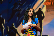 Host Anna Verghese speaks at TED2019: Bigger Than Us. April 15 - 19, 2019, Vancouver, BC, Canada. Photo: Bret Hartman / TED