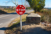 "Stop sign in Ullastrell, a staunchly pro-Catalan independence town near Barcelona, with a ""no"" to the right-wing anti-independence party Ciudadanos. Catalan Regional Elections, December 2017, called by Spanish Primer Minister Rajoy following the October 1st referendum on independence, and the application of Article 155 of the Spanish constitution - an attempy by Spain to maintain its unity. While right wing anti-independence party Ciudadanos won the election, they didn't get a majority - a coalition of pro-independence parties instead restored the exiled Carles Puigdemont to the Catalan presidency."